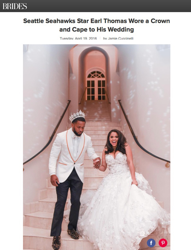 The NFL star headed down the aisle wearing a tux fit for a king, thanks to his blinged-out headwear and floor-length cape.